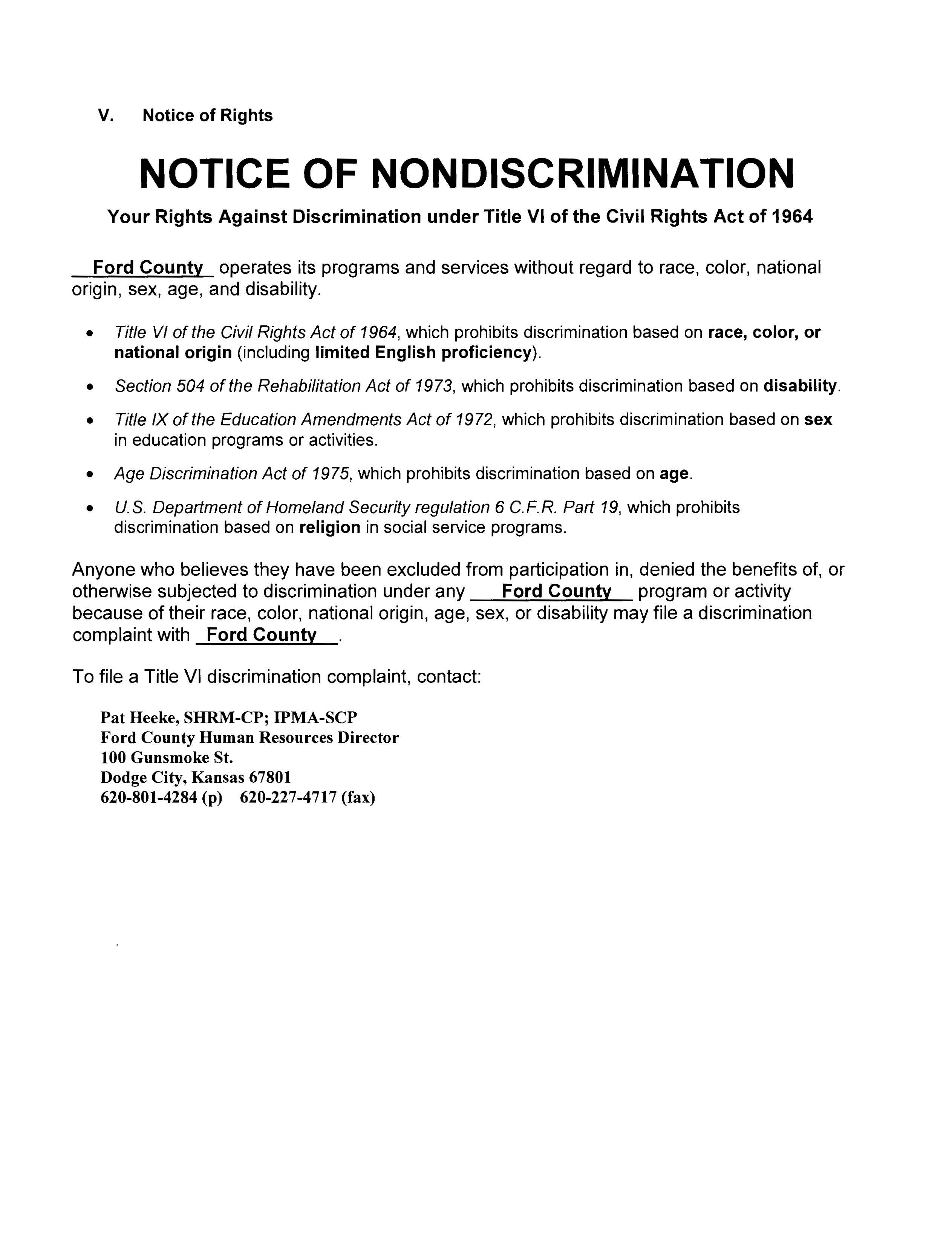 Notice of Nondiscrimination